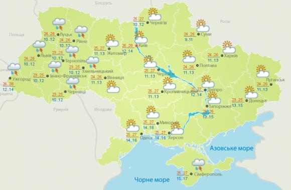 19 червня на Черкащині сонячно, +25..+27